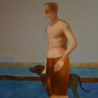 Chłopiec i pies 100/80 cm olej,