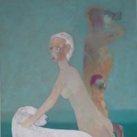 Bulterier i kobieta, 100/70 cm