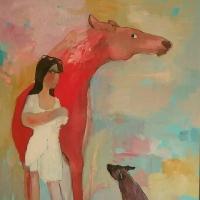 Dziewczyna, pies i czerwony koń, 130/100 cm , olej