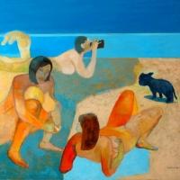 Niebieski szczeniak i nudystki, olej, płótno/130/100 cm